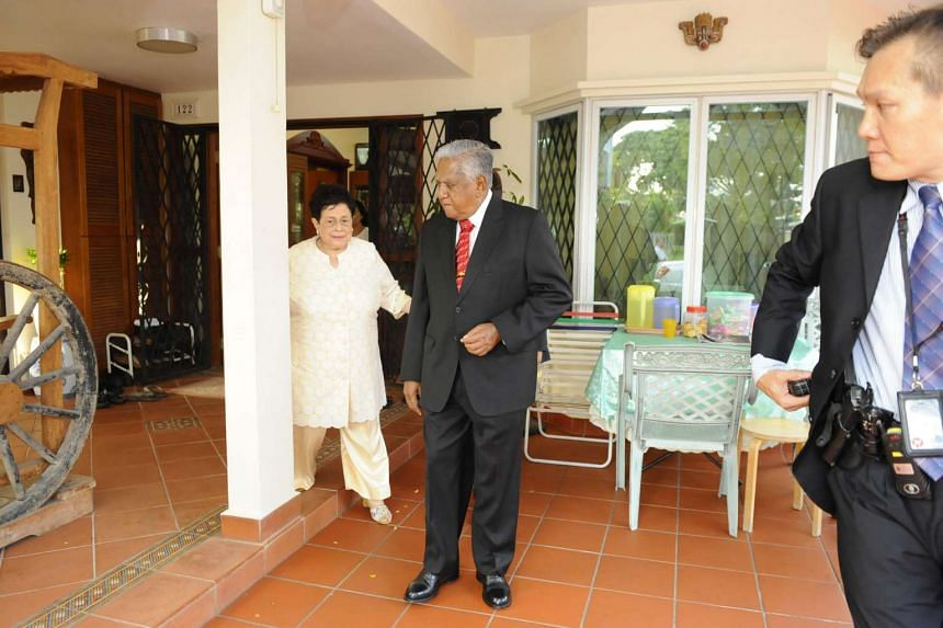 Outgoing president S R Nathan and Mrs Nathan leaving their home for a farewell reception hosted by the  Prime Minister Lee Hsien Loong for him at the Istana Banquet Hall on Aug 31, 2011.