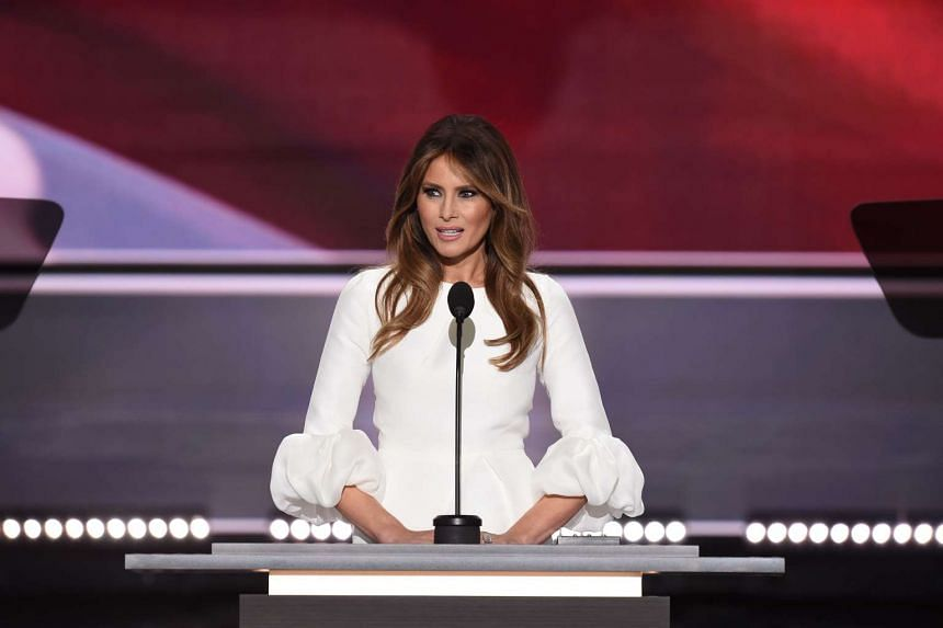 Melania Trump addresses delegates on the first day of the Republican National Convention in Cleveland, Ohio, on July 18, 2016.