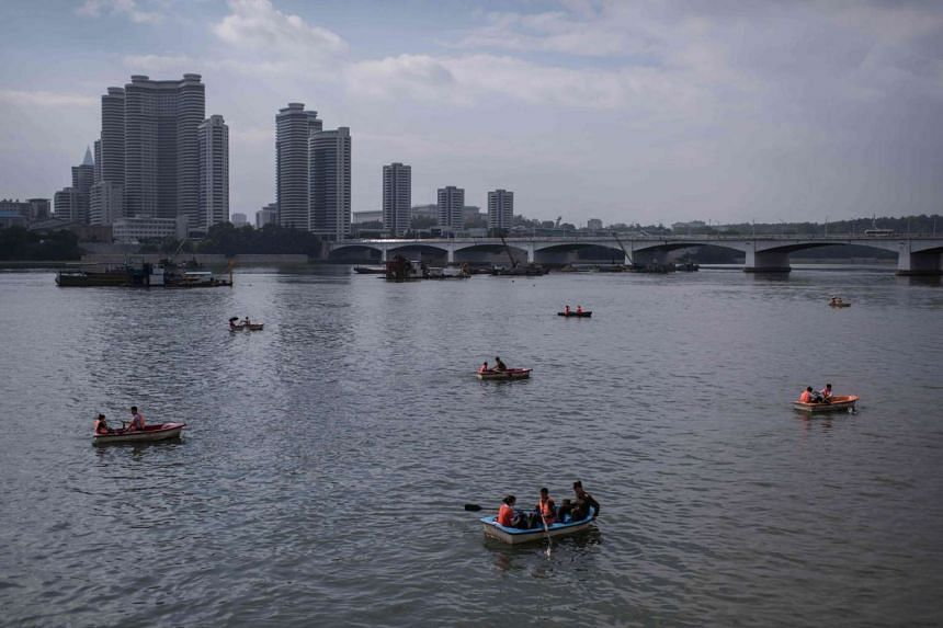 A view of boats along the Taedong river in central Pyongyang on July 17.