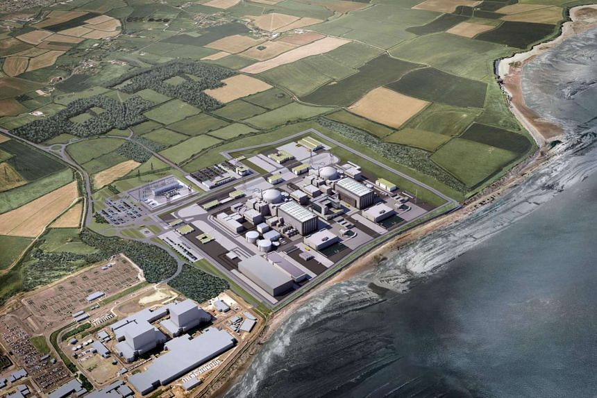 A computer generated image of the French energy producer's proposed two nuclear reactors, Hinkley Point C, at their Hinkley Point power plant in south-west England.