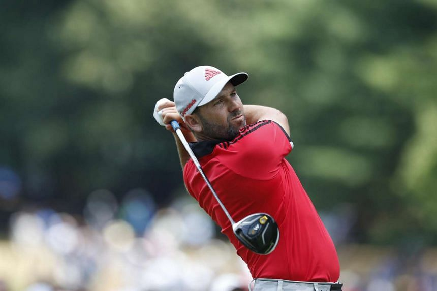 Sergio Garcia watches his tees shot on the sixth hole during the second round of the 2016 PGA Championship golf tournament at Baltusrol GC in Springfield, US on July 29.