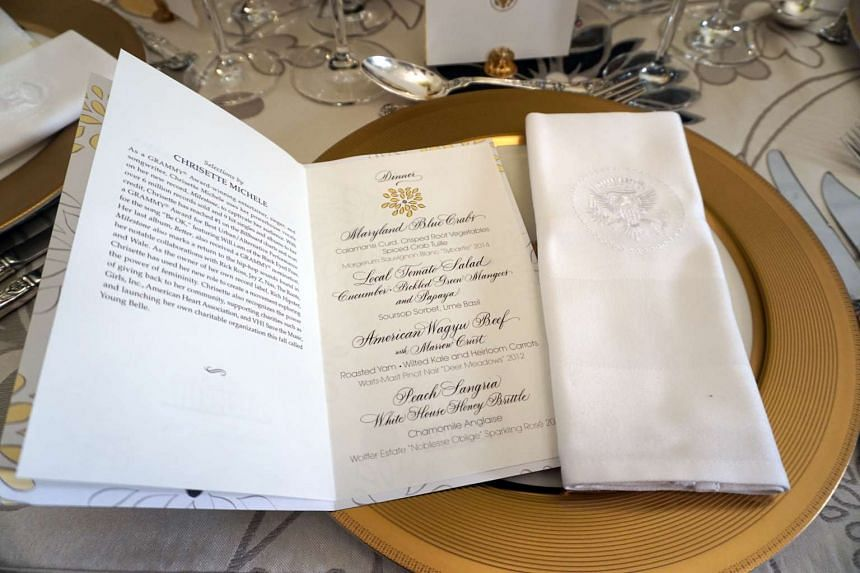 The menu for the White House State Dinner in honour of Prime Minister Lee Hsien Loong and Mrs Lee.