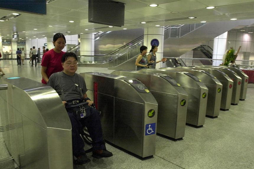 Handicapped commuters have wider ticketing booths to make it easier for them to have access to the North East Line (NEL).