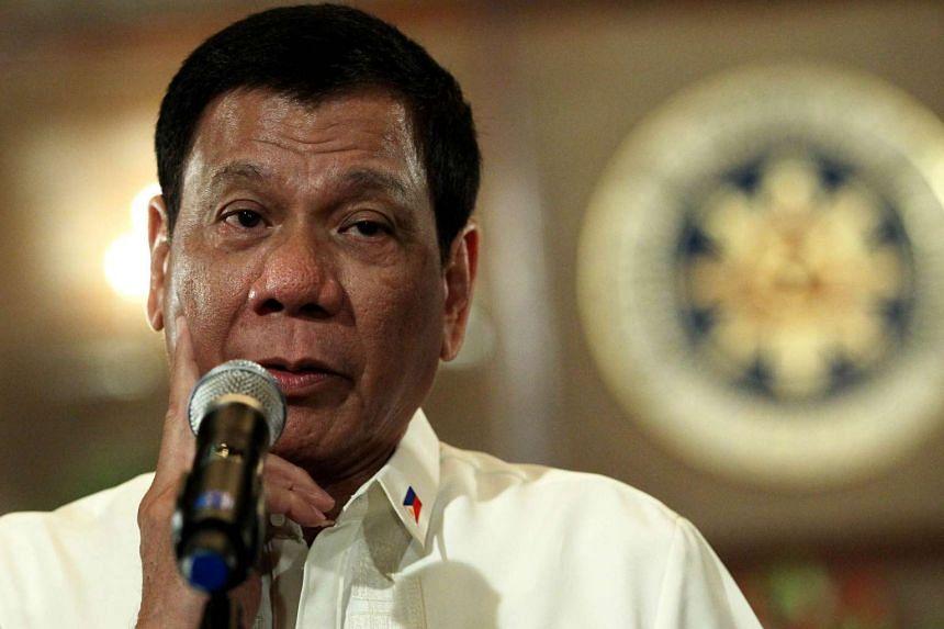 Filipino President Rodrigo Duterte speaks inside Malacanang presidential palace in Manila, on Aug 1, 2016.