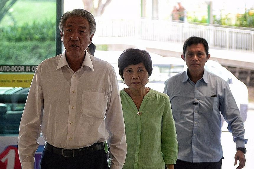 At the Singapore General Hospital to visit Mr Nathan yesterday were (above) President Tony Tan and Mrs Tan, and (below) Acting Prime Minister Teo Chee Hean and Mrs Teo. They were among the Singapore leaders who visited the former president after he s