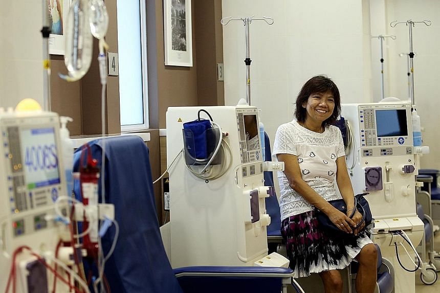 The new Scal-NKF Dialysis Centre in Yishun Street 81 is just a 15-minute walk away for housewife Low Cheng Koon, who used to spend an hour travelling by bus for dialysis treatment. The centre will double as a community outreach centre.
