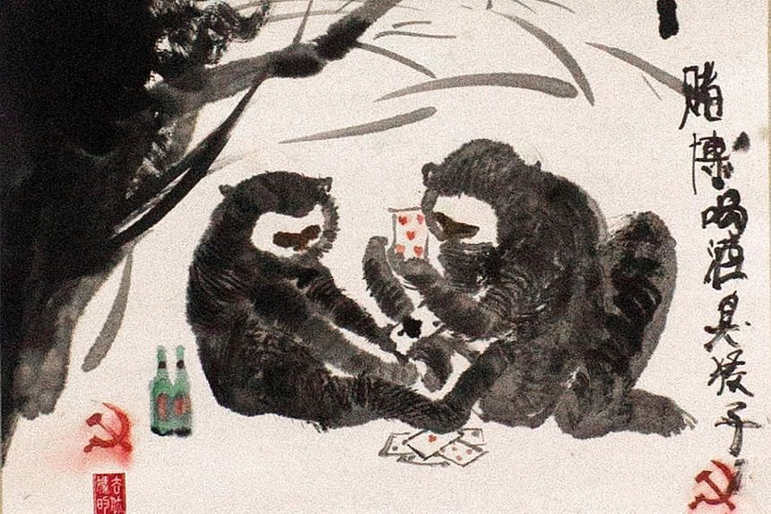 Gibbons are depicted engaging in vice in Gambling I, (left), 2014.