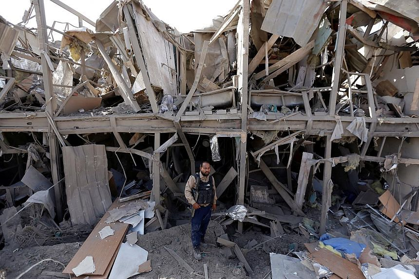 The remains of the Northgate hotel in Kabul after it was hit by a Taleban truck bomb in the early hours of yesterday.