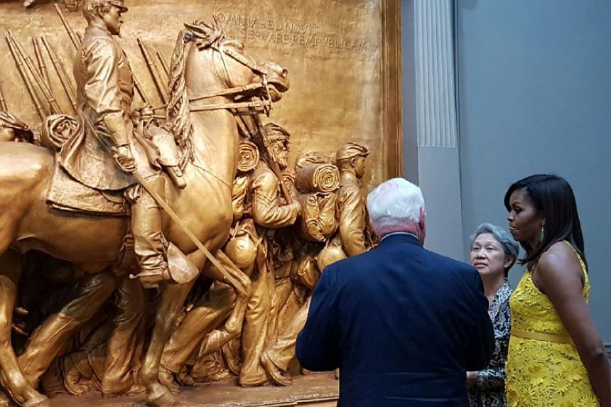 Mrs Lee and US First Lady Michelle Obama viewing the Shaw Memorial at the National Gallery of Art, on Aug 2, 2016.`