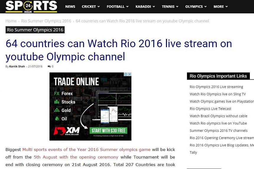 An article on Sports24hour claiming that the 2016 Rio Olympics will be streamed live in 64 countries on YouTube.
