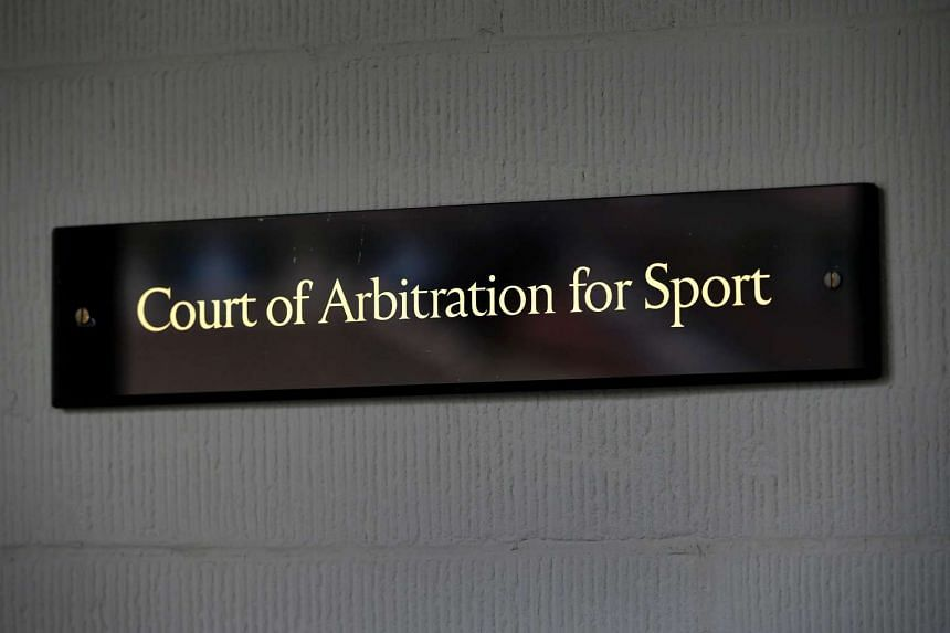A sign of the Court of Arbitration for Sport is seen on July 21 at its headquarters in Lausanne.