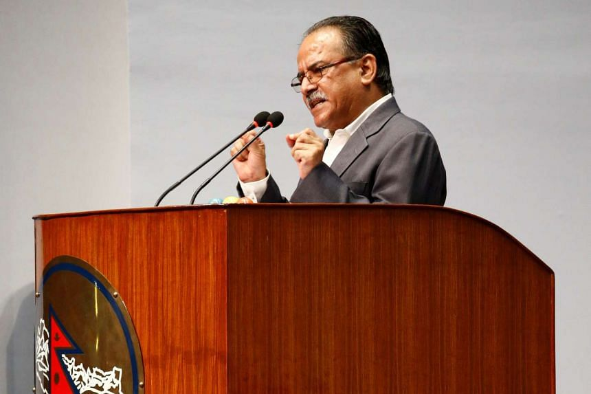 Pushpa Kamal Dahal, also known as Prachanda, speaks at the parliament during the prime ministerial election at the parliament in Kathmandu, Nepal on Aug 3, 2016.