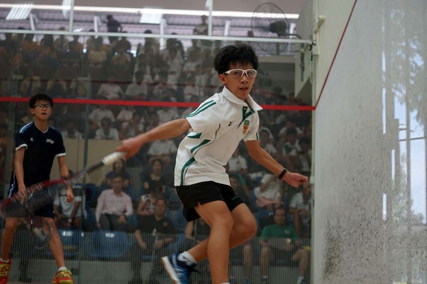 Lim Tze Shaun secured victory for Raffles Institution in the Schools National C Division boys squash final on Aug 2, 2016.
