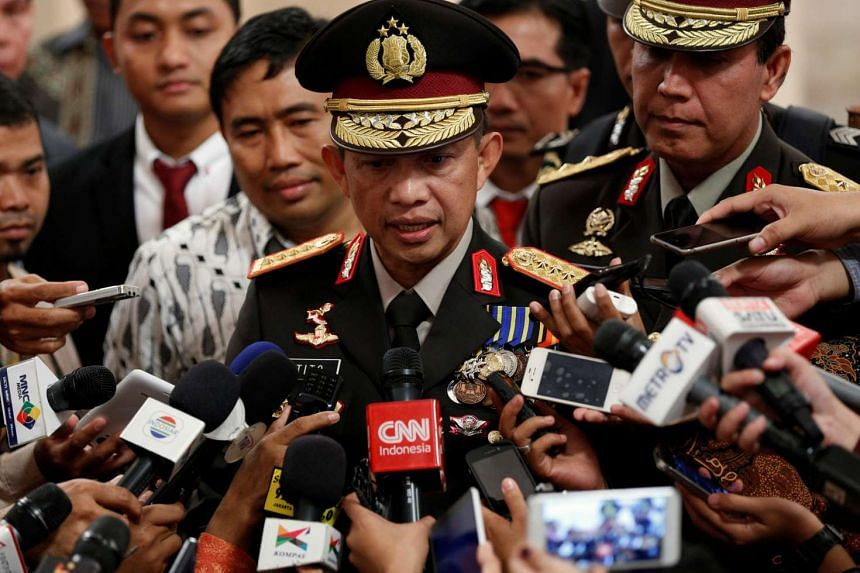 Indonesia's new National Police chief General Tito Karnavian speaks with the media after his inauguration at the presidential palace in Jakarta, Indonesia on July 13, 2016.