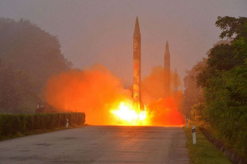 A missile fired during a drill by Hwasong artillery units of the Strategic Force of the Korean People's Army.