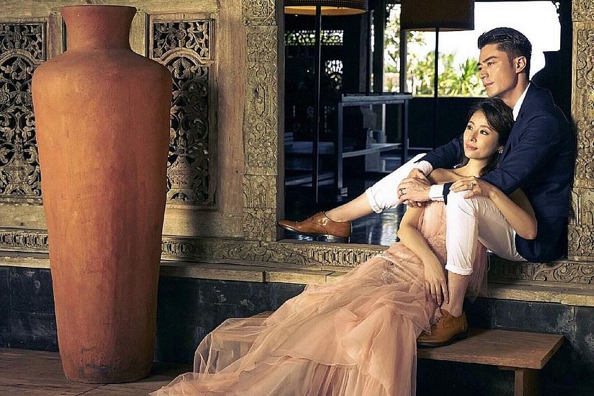 Taiwanese actress Ruby Lin talked about being a family of three with actor Wallace Huo during their wedding banquet in Bali.