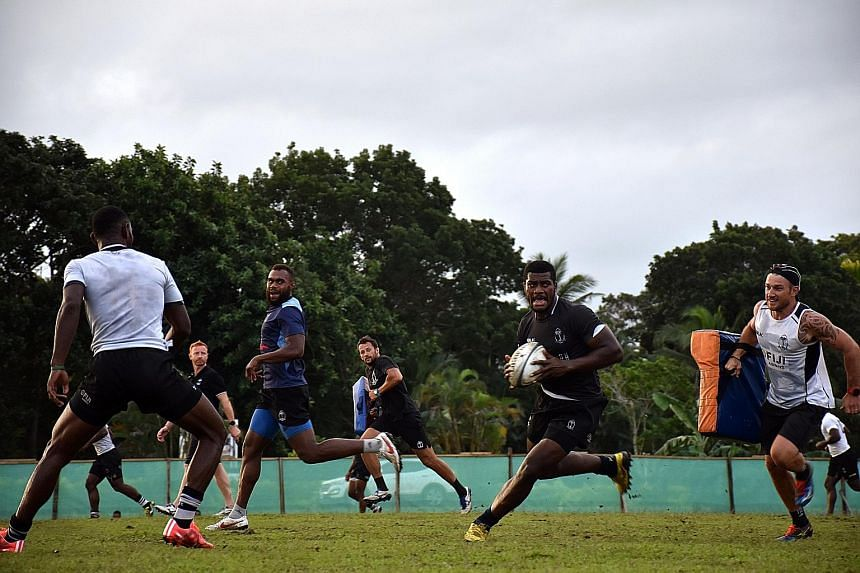 Fiji rugby sevens winger Samisoni Viriviri (with the ball) during a training session before their departure for Rio, where they are favoured to win the gold medal.