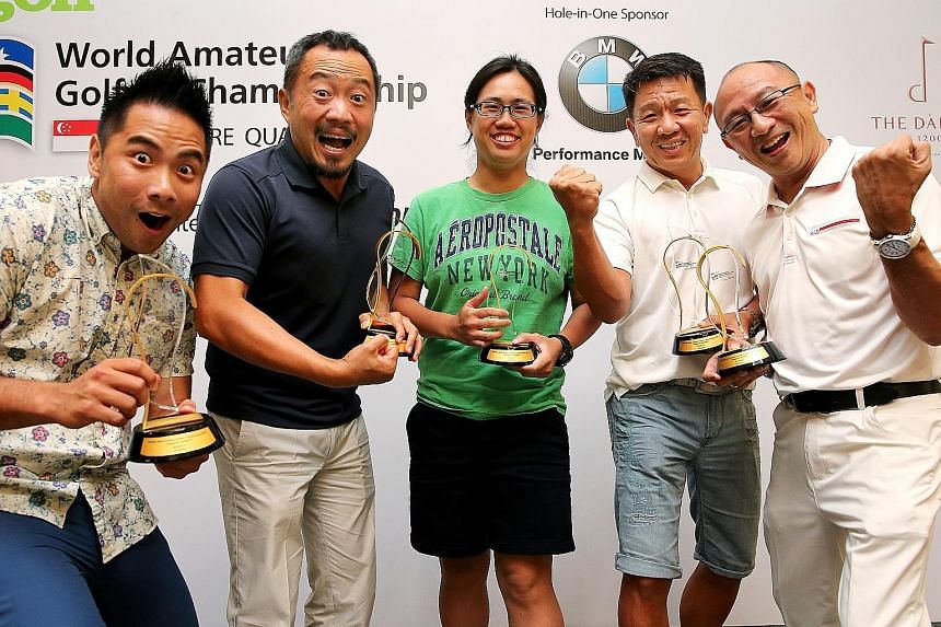 The SPH Golf WAGC winners who will be heading to Durban: (from left) Erwyn Lam, Melvin Choo, Clara Ang, Colin Tan and Lee Kian.
