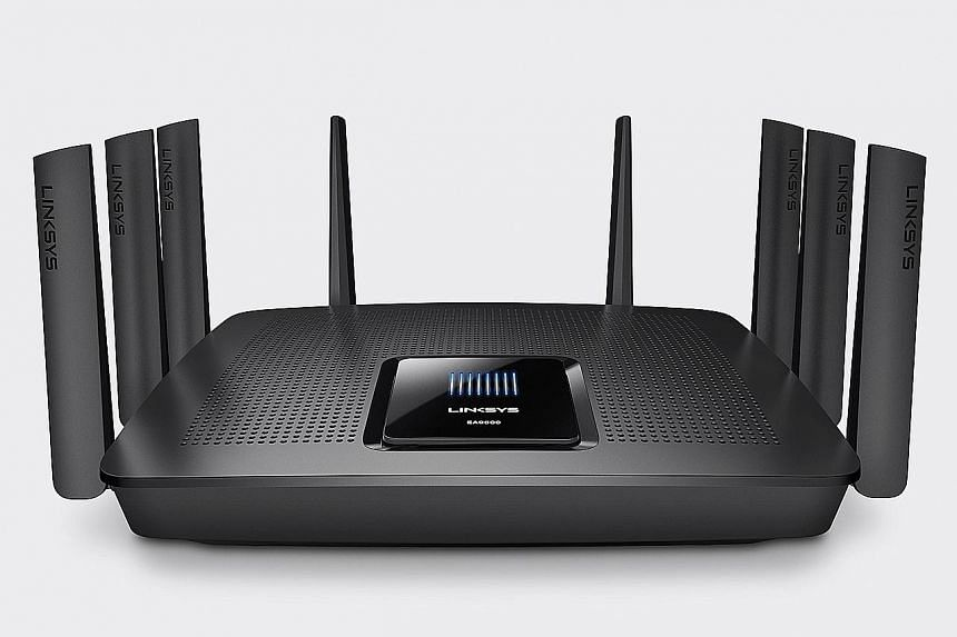 The Linksys EA9500 is a tri-band router that offers two 5GHz wireless bands and one 2.4GHz band.