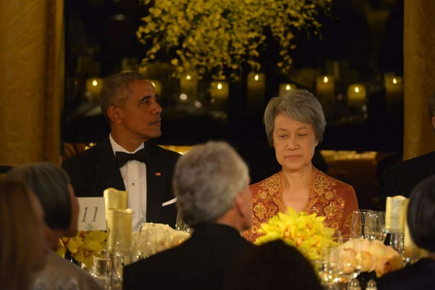 President Obama and Mrs Lee at the state house dinner on Aug 2 in Washington, DC, US.