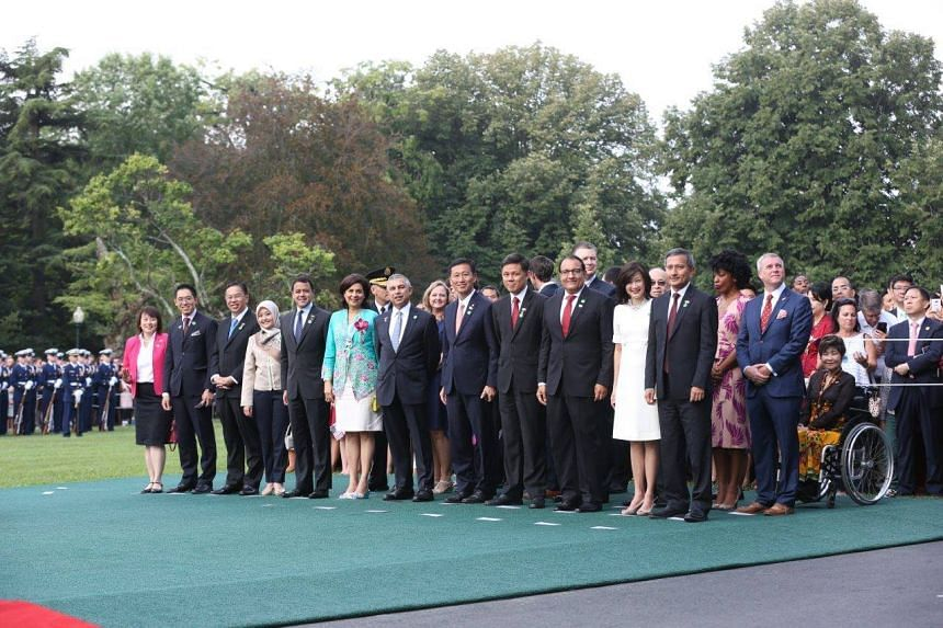 The Singapore delegates at the White House arrival ceremony.