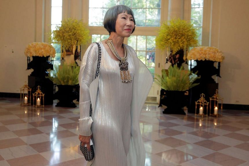 Author Amy Tan arrives for a State Dinner hosted by US President Barack Obama for Singapore Prime Minister Lee Hsien Loong at the White House in Washington, US on Aug 2.