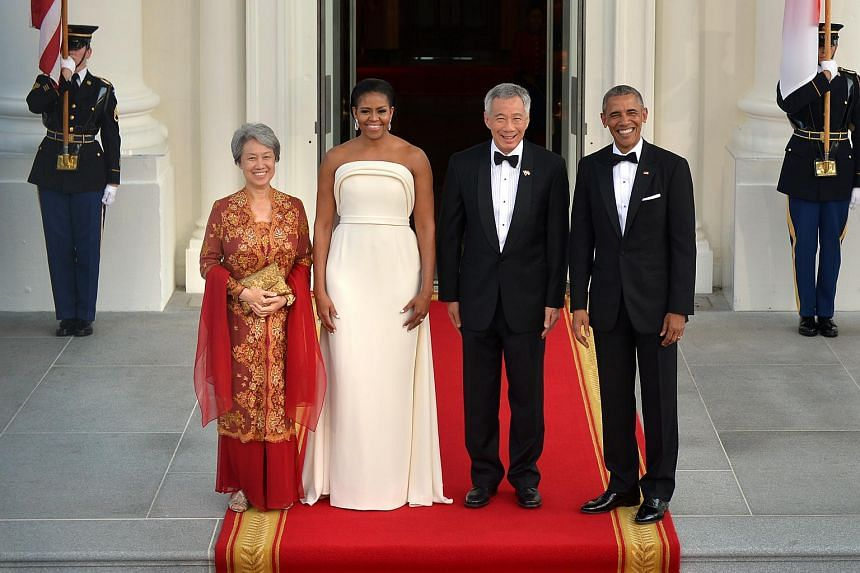 (From left) Mrs Lee, Mrs Obama, Mr Lee Hsien Loong and President Obama arriving at the White House for the state dinner.