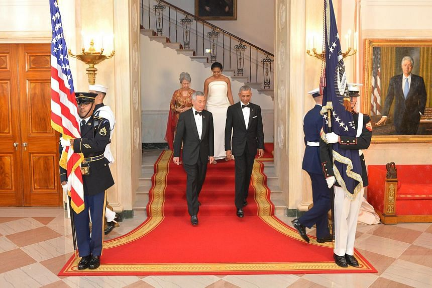 Mr Lee Hsien Loong and President Obama entering the White House on Aug 2.