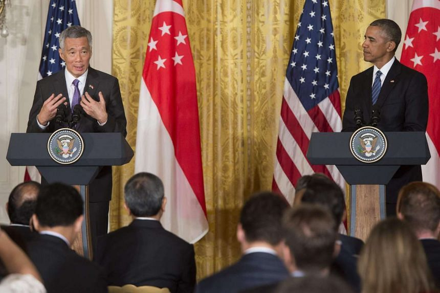 Singapore PM Lee Hsien Loong and US President Barack Obama delivering a joint statement at a press conference in the White House, on Aug 2, 2016.