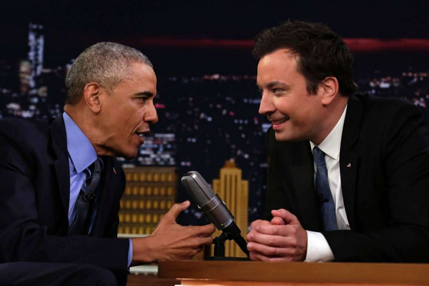 US President Barack Obama speaks with comedian Jimmy Fallon (right) during a taping of the Tonight Show on June 8, 2016.