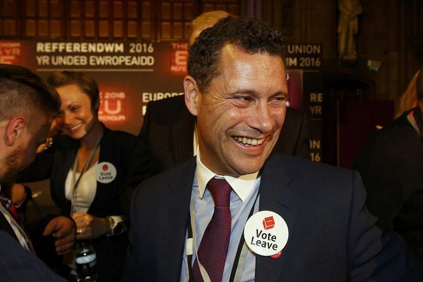 Steven Woolfe of UKIP smiles as votes are counted for the EU referendum, in Manchester, Britain on June 24, 2016.