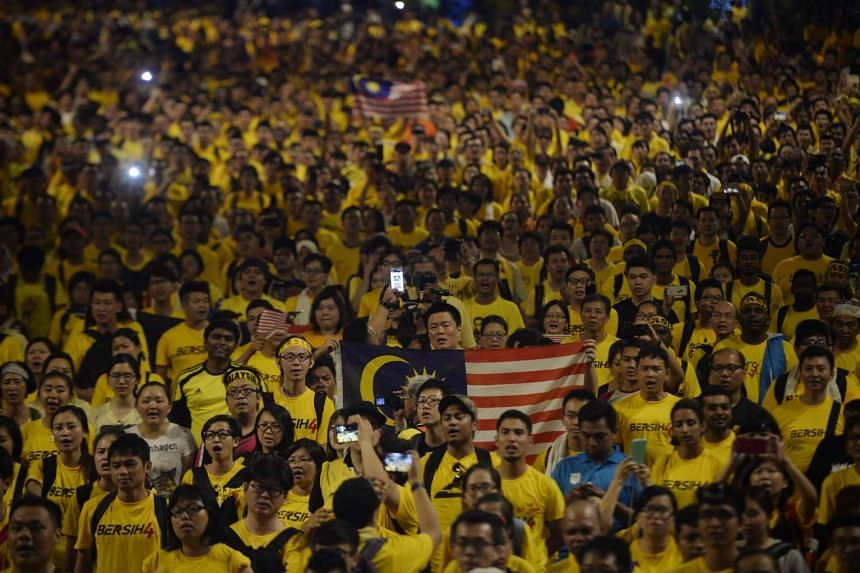 Protesters gathering around Dataran Merdeka in Kuala Lumpur at a Bersih rally in August 2015 calling for Prime Minister Najib Razak's resignation and for a clean government.