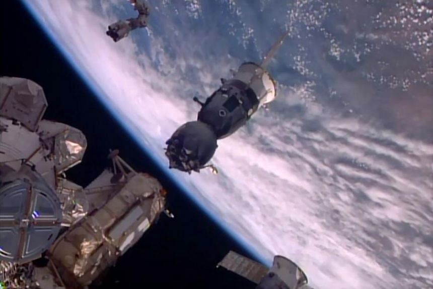 The Soyuz TMA-19M spacecraft as it departs the International Space Station on June 18, 2016.
