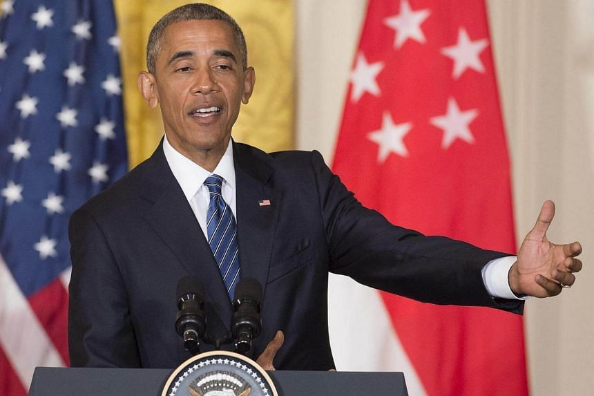 US President Barack Obama speaks about Republican presidential nominee Donald Trump during a press conference with Singapore Prime Minister Lee Hsien Loong.