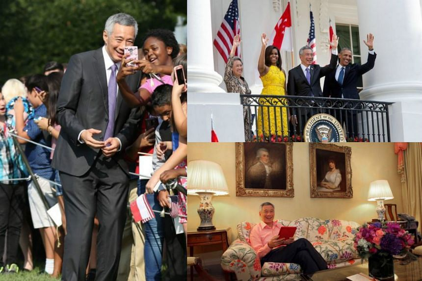 Clockwise from left: PM Lee mingling with the crowd on the White House's South Lawn; PM Lee, Mrs Lee, President Obama and Mrs Obama waving to the crowd; and PM Lee in the principal suite at Blair House.