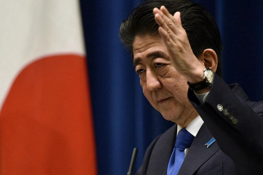 Japanese Prime Minister Shinzo Abe during a press conference at his official residence in Tokyo.