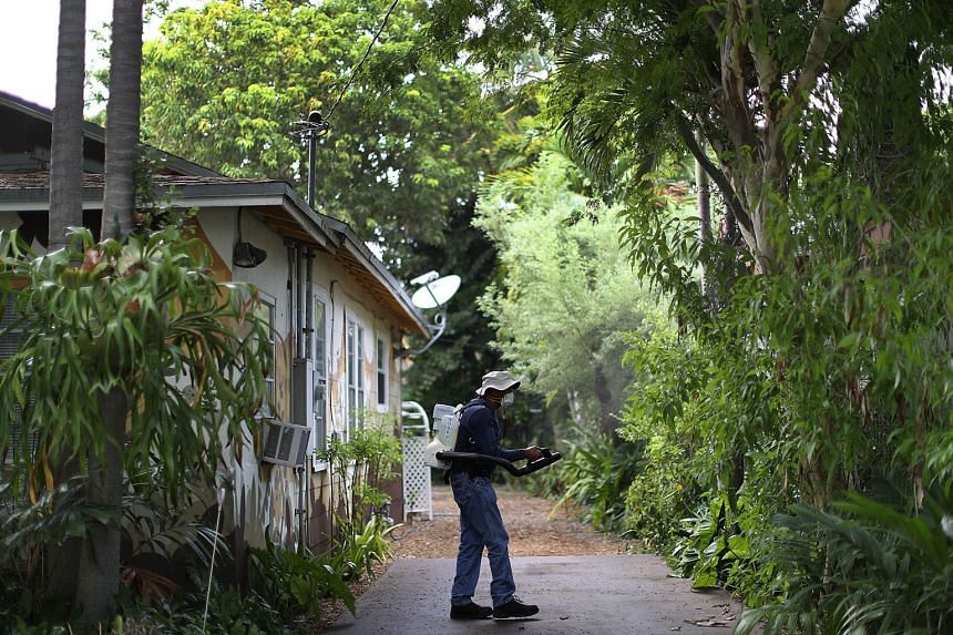 "A Miami-Dade County mosquito control inspector fogging an area within the Wynwood neighbourhood. Indications over the weekend show ""moderately high"" numbers of Aedes aegypti mosquitoes and their larvae still being found in a 2.6 sq km section there."
