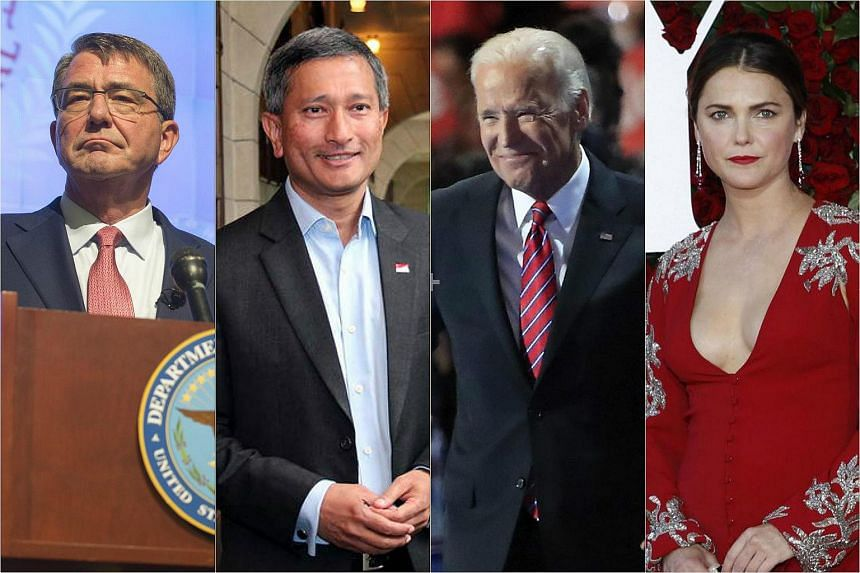 (From left) US Secretary of Defence Ashton Carter, Singapore's Minister for Foreign Affairs Vivian Balakrishnan, US Vice-President Joe Biden and actress Keri Russell are among the attendees at the White House state dinner.