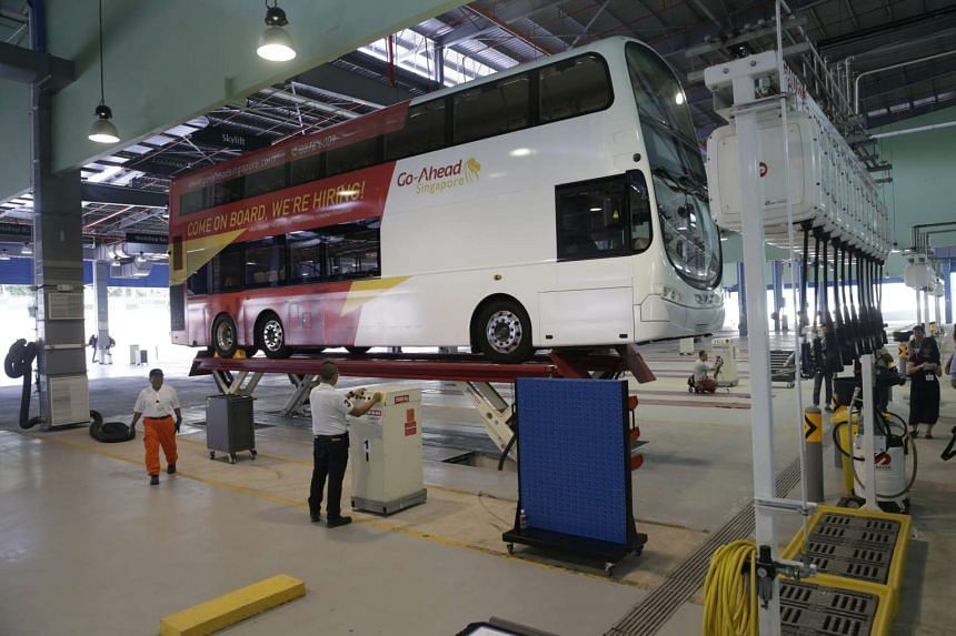 Workshop for Go-Ahead buses at the new Loyang bus depot.