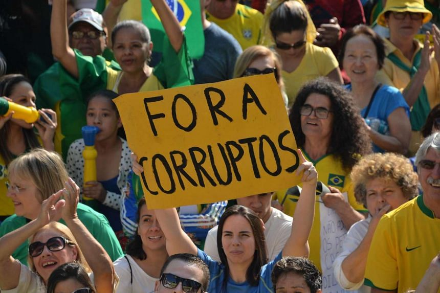 Hundreds of people hold a protest against suspended president Dilma Rousseff in Sao Paulo, on July 31.