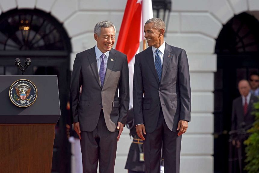 Singapore Prime Minister Lee Hsien Loong and Mrs Lee arrived at the White House on the morning of Aug 3, 2016, to a ceremony full of pomp and pageantry on the South Lawn.