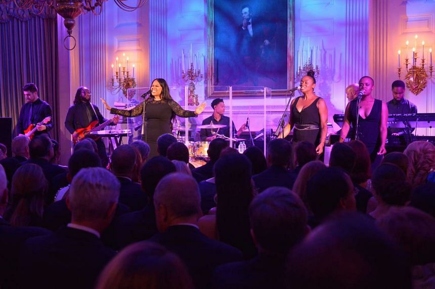 Chrisette Michele entertains the guests at the State Dinner.