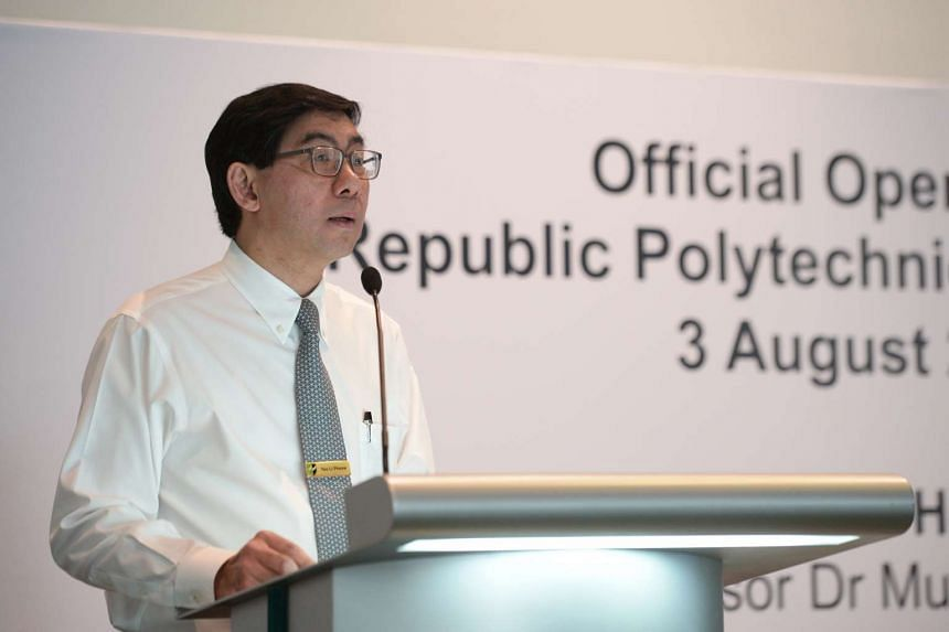 Mr Yeo Li Pheow, Principal and CEO of Republic Polytechnic giving his welcome address at the official opening of the Republic Polytechnic Industry Centre on August 3, 2016.