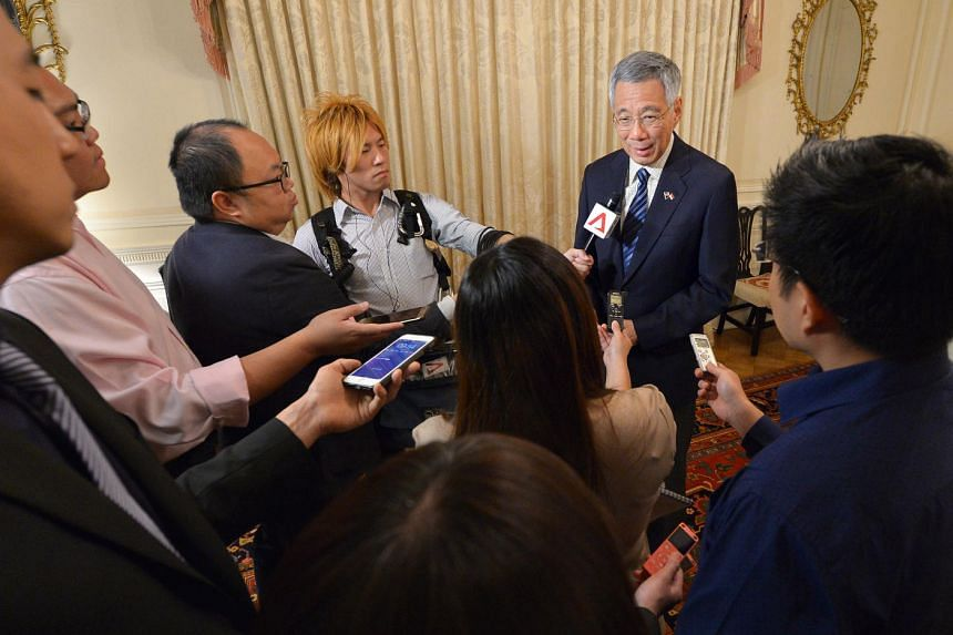 Prime Minister Lee Hsien Loong holds a press conference with the Singapore media at the Blair House on Aug 4, 2016.