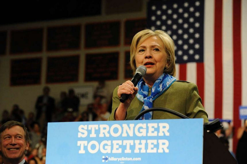 Democratic presidential nominee Hillary Clinton addresses supporters during her campaign stop at Adams City High School in Commerce City, Colorado on Aug 3, 2016.