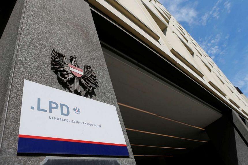 The entrance of Vienna's police headquarters (Landespolizeidirektion Wien) is seen in Vienna, Austria on Aug 4, 2016.