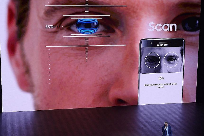 Mr Justin Denison, Samsung's senior vice-president of product strategy, talking about the Galaxy Note7's iris recognition technology during the Samsung Unpacked event in New York.