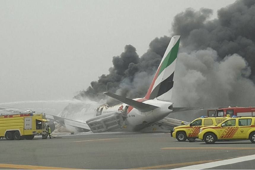 An emirates Boeing 777 flight EK521 crash landed in Dubai on Aug 2, 2016.