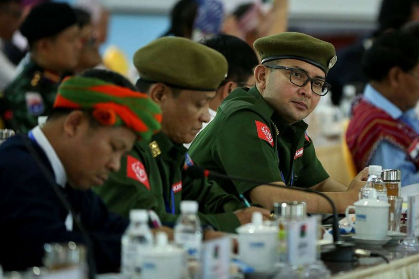 Leaders of the Arakan Army gather with other leaders and representatives of various Myanmar ethnic rebel groups at a conference in Mai Ja Yang, in northern Kachin State, on July 26, 2016.