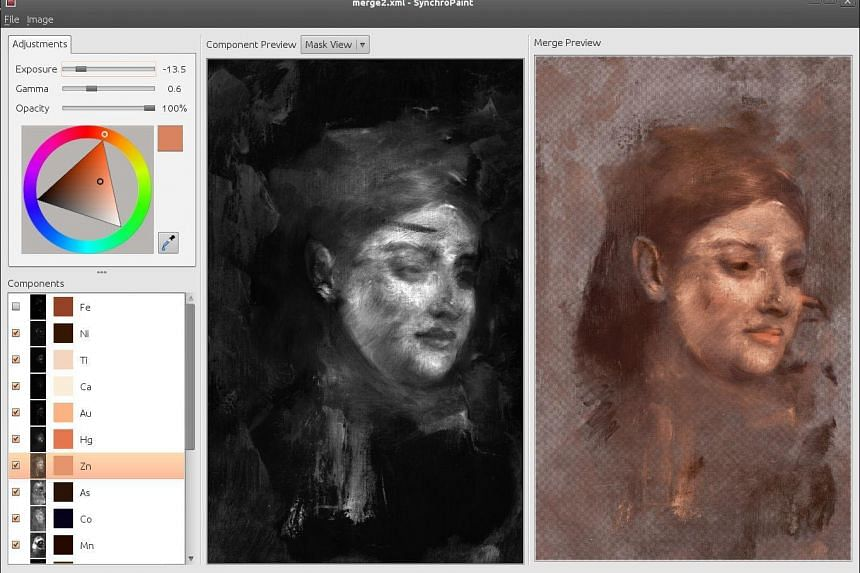 An undated handout photo showing the Edgar Degas painting Portrait of A Woman as it appears during the imaging scan.